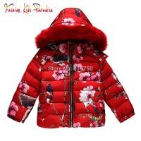2015 Brand New Children Winter Outwear Animal Pattern Girls Down Coat Parkas Hooded Fur Kids Down Jackets Girls Outerwear Coats
