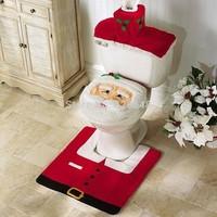 Hot Sale 2014 Brand New 3pcs/set Christmas Decorations Happy XMAS Santa Toilet Seat Cover and Rug Bathroom Set Drop Shipping