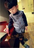 Free shipping 2014 new children's clothing boys denim stitching bow collar long-sleeved shirt