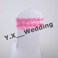 Pink Color Lycra Chair Band Sash With Satin Rosette Fabric