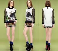 New 2014 Print tops for Women Vintage Blouses & Shirts ladies Long Sleeve Body Blusas Femininas Women Clothing SV19 CB031226