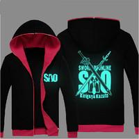 New Sword Art Online 2 Ghost Bullet  Cosplay Zipper cardigan fluorescent hooded jacket  Black Hoodies Sweatshirts Free Shipping