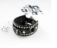 Hot Selling Fashion Personalized Retro rivet wild punk rock  Leather Charm Bracelet For Women men jewelry  Free Shipping  MD1168