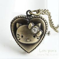 10pcs/lot Antique Bronze Heart Necklace Pendant Clock Watch Free Ship