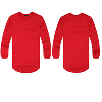 2014 The malicious goods street fashion tide street dovetail arc long fleece Male money easy tshirts men long sleeve