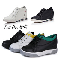 New Wedges Shoes 2014 Women Genuine Leather Fashion Lace Up Wedge Sneakers For Women Cow Leather Platform Sneakers Shoes Woman