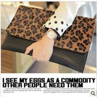 Freeshipping Hot Selling Best Selling Leopard Handbag 2015 fashion day clutch horsehair leopard print bag clutch bag