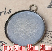 antique bronze wholesale 20/25/30mm round cabochon cameo setting TRAY Pendant Blank Base Vintage Necklace Pendant Findings