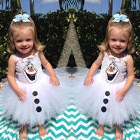 New 2014 frozen dress baby&kids girl summer dress/Casual white yarn dress with Olaf pattern/Summer hot sale