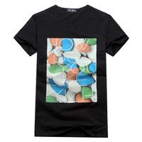 2014 new fashion men's short-sleeved T-shirt men's short-sleeved round neck T-shirt printing T shirt