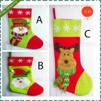 Long 22CM * Width 44CM Santa Claus / Snowmen /Deer Pattern Christmas Quality Large Sweetmeat Gift Bags Socks Three Style Choose