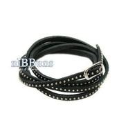 Hot Selling Fashion Multi-winding leather cord  fine rivet  punk rock  Leather Charm Bracelet For Women men jewelry  MD1169