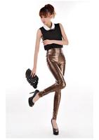 Large size 2014 New Fashion gold Leopard high waist leather pants women leggings Lederhosen Tenths Pants Free Shipping