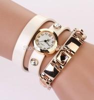 2014 New Fashion Women Leather Wrist Watch Bracelet Retro Vintage Retro Rivet Strap Quartz Wristwatchs DHL free shipping