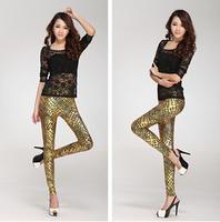 2014 New Fashion Feral bright skin leather pants bronzing Snake Print women leggings Lederhosen Tenths Pants Free Shipping
