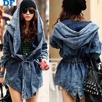 Women Denim Jeans Coat Jacket 2014 New Women Jeans Coats Vintage Long Sleeve Slim Hoody Plus Size Hooded Coat Roupas Femininos