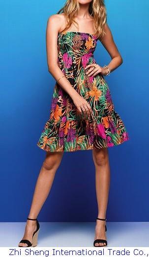 Летнее платье Cacual платье пляжная одежда пляж -, Красочные Strplees винтаж печать пляжное платье саида де прайя vestido estampado