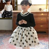 2014 new Spring autumn children's clothing wholesale kids black  whiteCotton dress girls dot princess dress