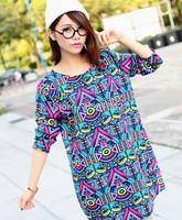 Plus Size European And American Style Cotton Dress For Women Colorful Gemetric Patterns Dress Lady Fashion Bohemian Loose Dress