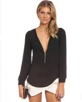 Plus Size XXLAutumn Fashion Blouse Women 2014 zipper  Deep V-neck long sleeve Chiffon Shirt ,6 COLOR