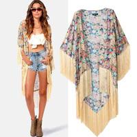 NCI2156 2014 Women Ladies Vintage Ethnic Cotton Floral Print Kimono Cardigan Tassels Maxi Shirt Blouse Top Kimonos Dress