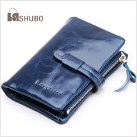 SHUBO Vintage Women Wallets Oil Wax Genuine Leather Wallet Day Clutches Purse Wristlet Portefeuille Bag Carteira Feminina SW013