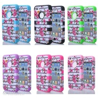 Hot sell 3in1  Hybrid Armor Chic Peony Flower High Impact Cover Case for iPhone 4 4S+Free shipping