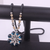 1770#Europe and the United States jewelry fashion Exaggerated  bule  crystal flower  sweater chain