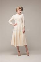 free ship autumn cream beige ruffles long vintage medieval dress Renaissance princess costume Victorian dress/Marie