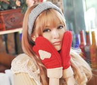 Christmas Gift Women Girl Fleece Faux Cashmere Wrist Heart Gloves Mittens Soft Touch Warm Winter Fashion Cute Sweet 10 Colors