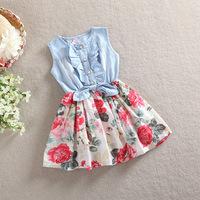 Retail New summer 2014 Girls cowboy dress Denim Rose 100% cotton dress Girls summer dress Baby girls dress free shipping