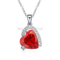18K Platinum Plated Garnet Heart Zircon and Clear Rhinestones Lovers Necklaces AAA Zircon