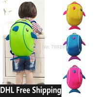 DHL Free Shipping~Diving Material Neoprene 3D Cartoon Dolphin Bag~children kids school bags boys and girls backpacks~10 pcs/lot