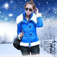 2014 winter outerwear star style big collar down coat female short design slim solid color fur collar button down coat