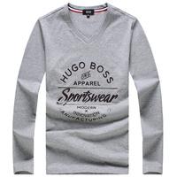 New Hot Sales Men Long Sleeve V Neck  Black White Casual T Shirt  Mr. Fashion Brand Cotton M L XL XXXL t Shirt 10753