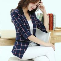 2014 Autumn One Button Plaid Small Suit Jacket Female Plus Size Slim Blazer