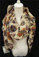 2014 Hot Sale New Elegant Beige Color Silk Touch Viscose Colorful Skulls Print Tassels Long Cape Scarf Shawls Wraps for Women