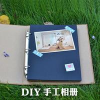 Wood grain leather diy photo album cowhide paper blank black card hardiron handmade loose-leaf notebook photo album