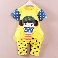 Set 2014 summer children baby girl clothing cartoon bamboo fibre polka dot cartoon t-shirt twinset