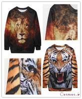 2014 Fashion Women/Men rihanna Pullovers 3D sweatshirt Lion/Tiger Pullover Unisex Animal Sweatshirts MD1981/MD1922