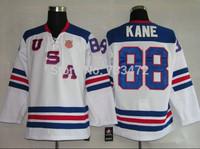 usa hockey jersey #88 patrick kane White team usa hockey jersey Embroidery logos Mix Orders