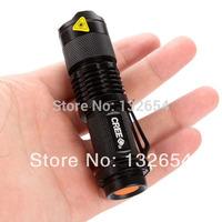 2pcs/lot Mini LED 7W 300LM CREE Q5 Adjustable Focus min led flashlight torch light