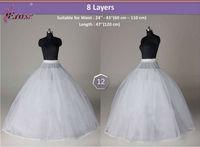 WP-022 Top Selling Free Shipping 8 Layers Bridal Wedding Train Petticoat Underskirt