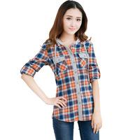 Plus size clothing plus size 200 mm autumn shirt long-sleeve plaid with a hood plus size shirt
