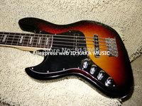 Left Handed Sunburst 5 strings Jazz Bass Wholesale Guitars Top Musical instruments