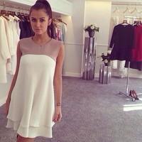 2014 Hot  sale women leisure wild sleeveless chiffon dress cute stitching loose dress
