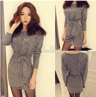 Roupas Femininas 2014 New Autumn Winter Dress Casual Women Long Sleeve Knitted Sweater Dress Mini Sexy Party Club Dresses zpp955