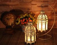Zakka iron glass candlestick European hanging lantern Home Furnishing decorative white wedding
