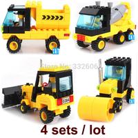 Enlighten Building Blocks Car Road Roller Excavator Mixer Assembling Blocks Hot Toy for Boy Compatible Gift