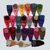 Wholesale New Women Knitted Contrast Color Flower Appliques Handband,Female Crochet Handwork Tenia / Can Mixed,20 pcs/lot  l16